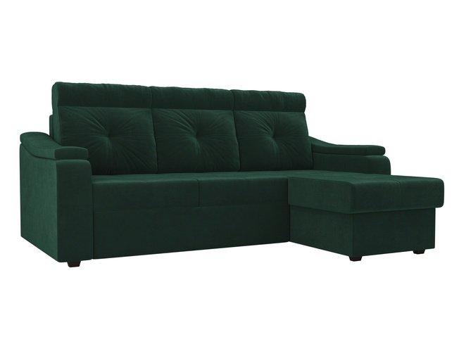 Угловой диван-кровать правый Джастин, зеленый/велюр фото