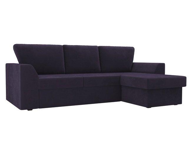 Угловой диван-кровать правый Морган, фиолетовый/велюр фото