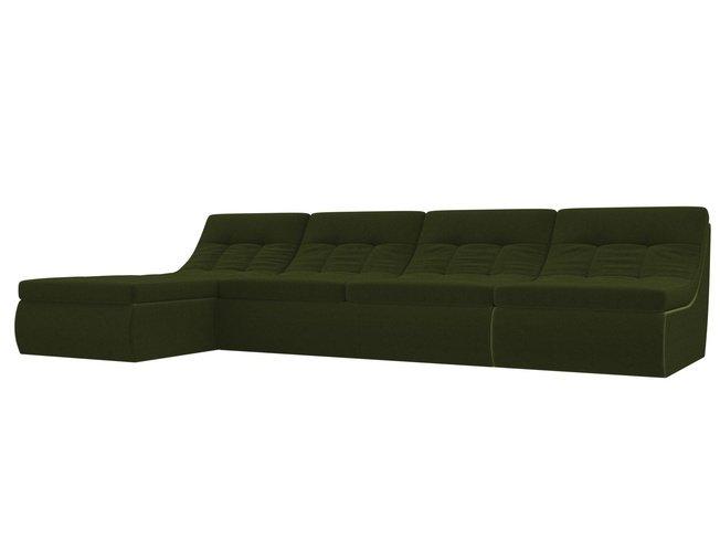 Угловой модульный диван-кровать левый Холидей, зеленый/микровельвет фото