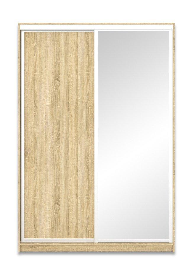 Шкаф-купе Юпитер 2-дверный с зеркалом 1600 (глубина 600, высота 2200), дуб сонома фото