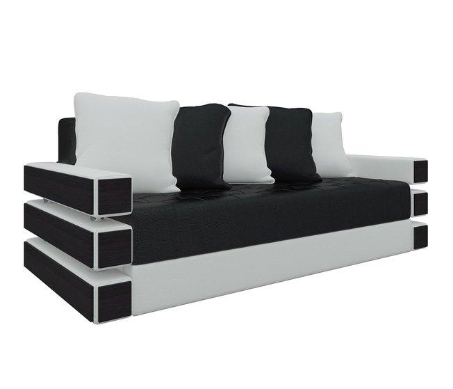 Диван-кровать Венеция, черный/белый/экокожа фото