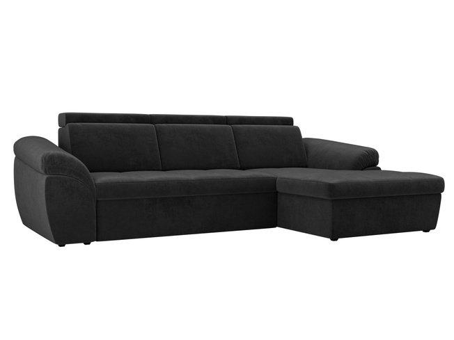 Угловой диван-кровать правый Мисандра, серый/велюр фото
