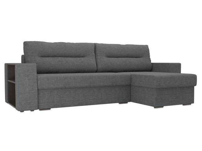 Угловой диван-кровать правый Эридан, серый/рогожка фото