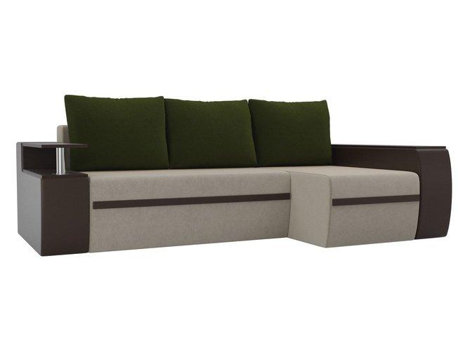 Угловой диван-кровать правый Майами, бежевый/коричневый/зеленый/микровельвет/экокожа фото