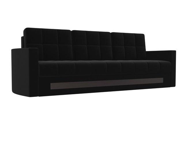 Диван-кровать Белла, черный/микровельвет фото