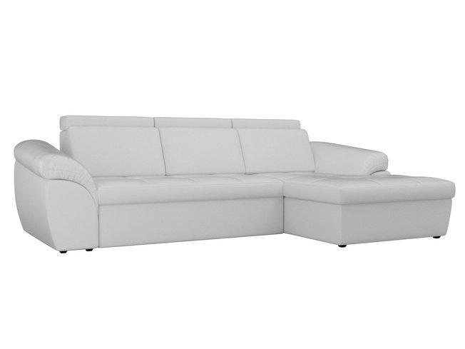 Угловой диван-кровать правый Мисандра, белый/экокожа фото