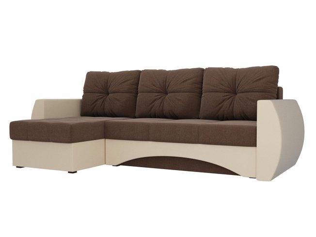 Угловой диван-кровать левый Сатурн, коричневый/бежевый/рогожка/экокожа фото