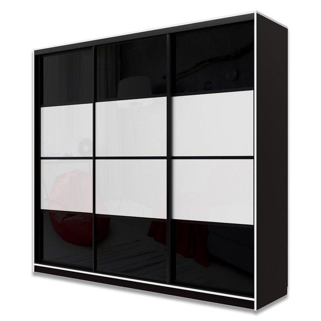 Шкаф-купе Юпитер 3-дверный без зеркала 2400 (глубина 600, высота 2200), черный/черный глянец/белый глянец фото