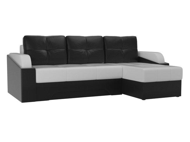 Угловой диван-кровать правый Панда, белый/черный/экокожа фото