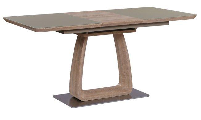Стол обеденный раскладной VETRO 120, дуб/крем сатин фото