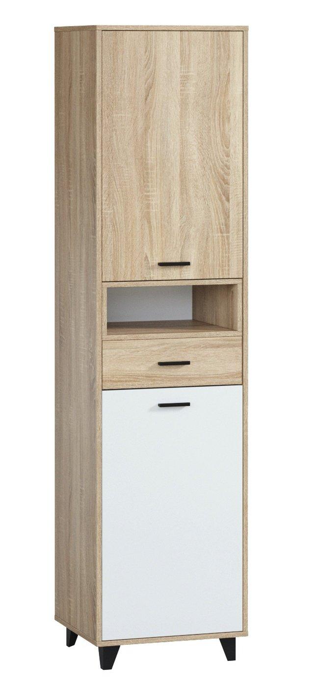 Шкаф-пенал с ящиком Ривьера 1.1, дуб сонома/белый фото