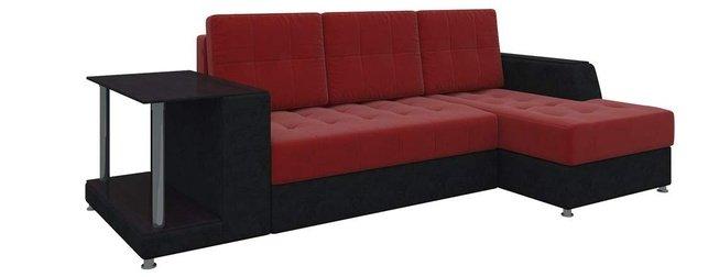 Угловой диван-кровать правый Атланта, красный/черный/микровельвет