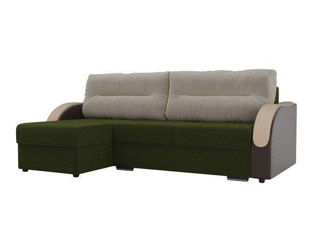 Угловой диван-кровать левый Дарси, зеленый/коричневый/бежевый/микровельвет/экокожа/микровельвет фото