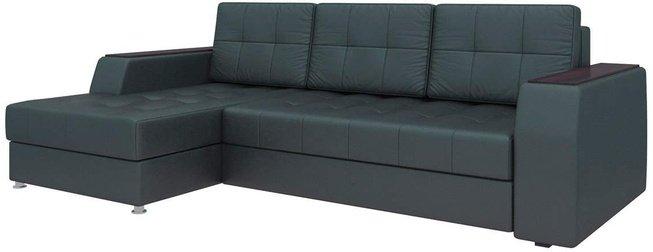 Угловой диван-кровать левый Эмир Б/С, черный/экокожа фото