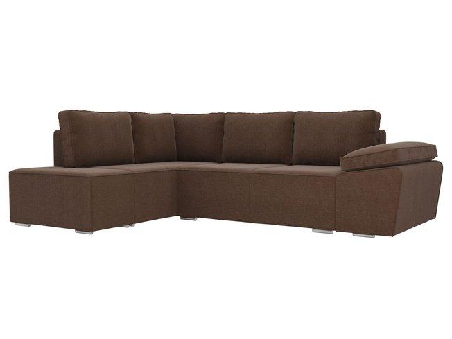 Угловой диван-кровать левый Хавьер, коричневый/рогожка фото