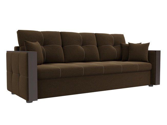 Диван-кровать Валенсия, коричневый/микровельвет фото