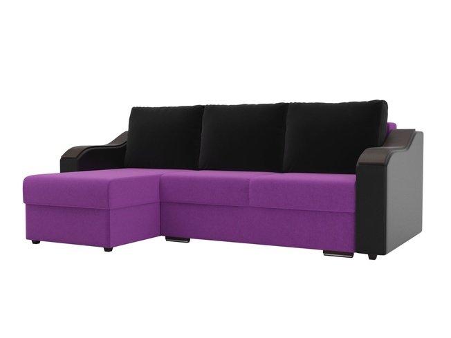 Угловой диван-кровать левый Монако, фиолетовый/черный/черный/микровельвет/экокожа фото