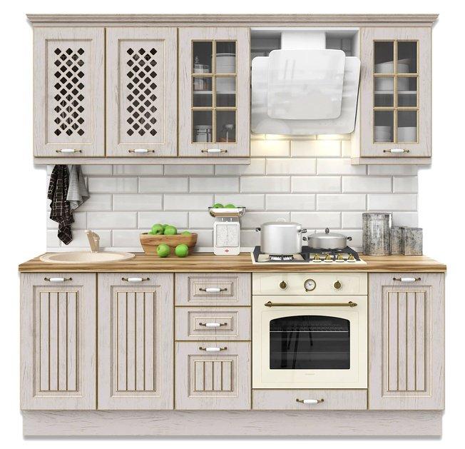 Кухня Неаполь 2200, дуб полярный/золото фото