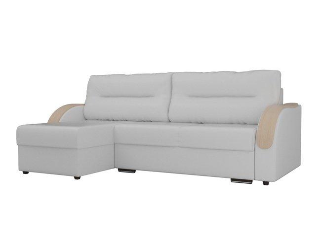 Угловой диван-кровать левый Дарси, белый/экокожа фото