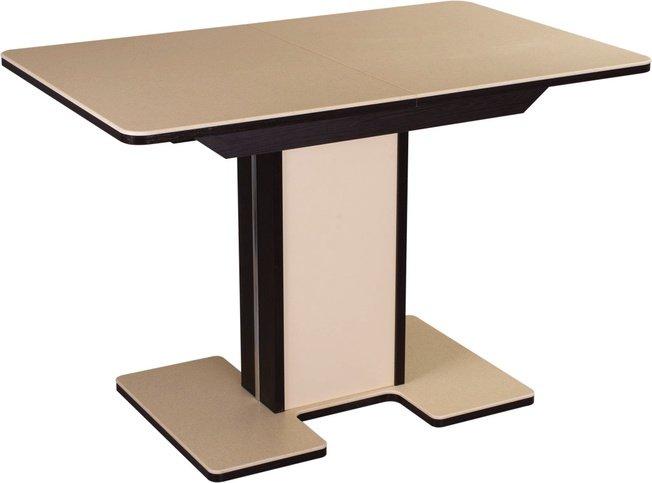 Стол обеденный раздвижной Румба средний ПР-5, венге/бежевый камень фото