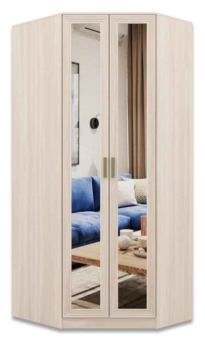 Шкаф угловой правый с зеркалом Орион, шимо светлый/лен фото