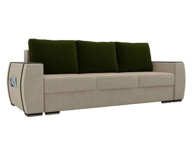 Диван-кровать Брион, бежевый/зеленый/микровельвет фото