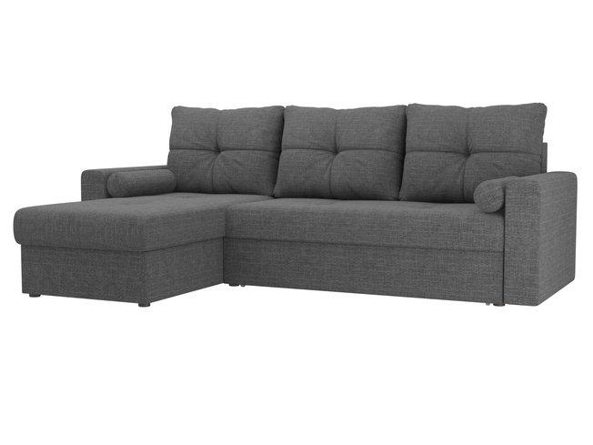 Угловой диван-кровать левый Верона, серый/рогожка фото
