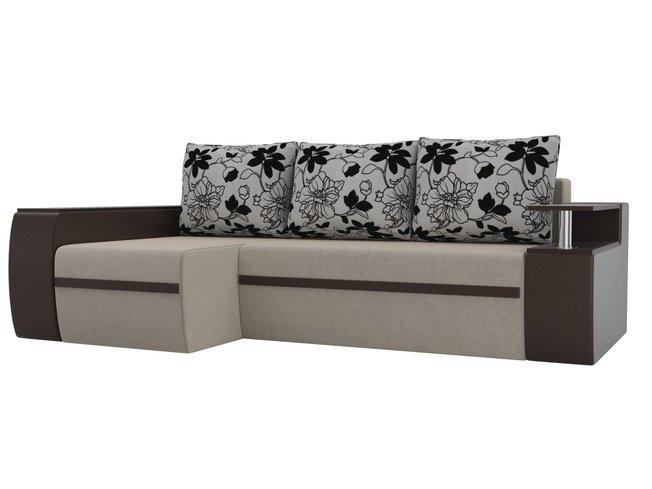 Угловой диван-кровать левый Майами, бежевый/коричневый/микровельвет/экокожа/флок на рогожке фото