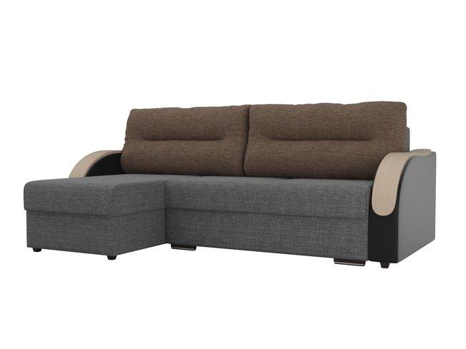 Угловой диван-кровать левый Дарси, серый/черный/коричневый/рогожка/экокожа/рогожка фото