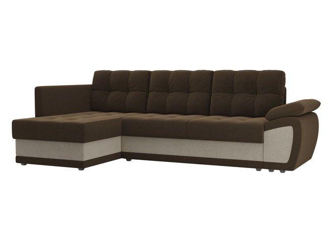 Угловой диван-кровать левый Нэстор прайм, коричневый/бежевый/микровельвет фото
