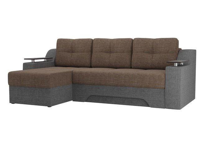 Угловой диван-кровать левый Сенатор, коричневый/серый/рогожка фото