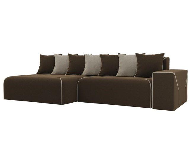 Угловой диван-кровать левый Кёльн, коричневый/бежевый/микровельвет фото