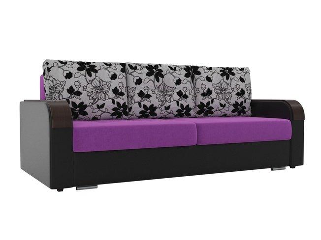 Диван-кровать Мейсон, фиолетовый/черный/микровельвет/экокожа/флок на рогожке фото