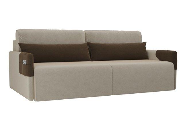 Диван-кровать Армада, бежевый/коричневый/микровельвет фото