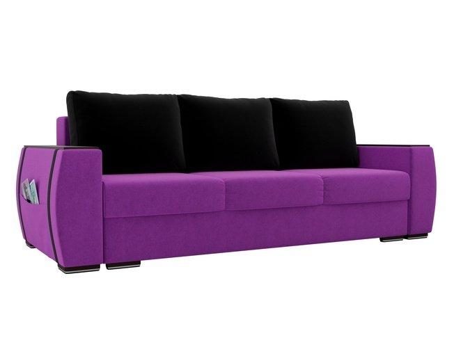 Диван-кровать Брион, фиолетовый/черный/микровельвет фото