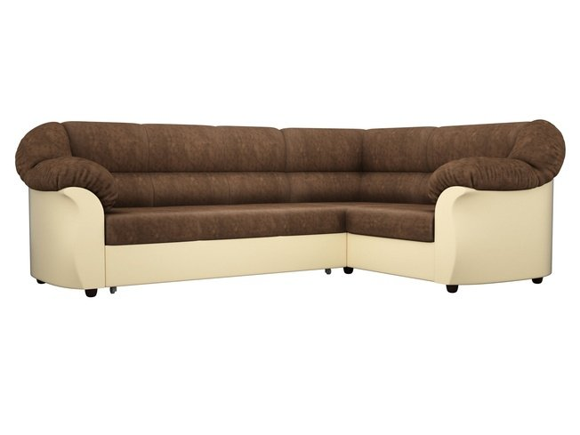 Угловой диван-кровать правый Карнелла, коричневый/бежевый/велюр/экокожа фото
