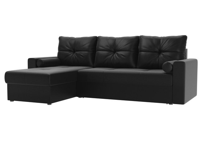 Угловой диван-кровать левый Верона, черный/экокожа фото