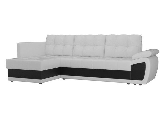 Угловой диван-кровать левый Нэстор прайм, белый/черный/экокожа фото