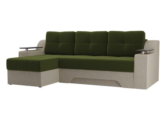 Угловой диван-кровать левый Сенатор, зеленый/бежевый/микровельвет фото