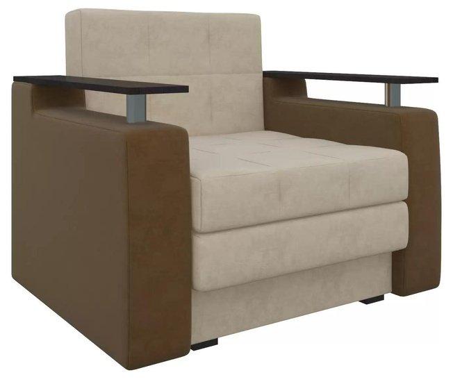 Кресло-кровать Мираж, бежевое/коричневое/микровельвет фото