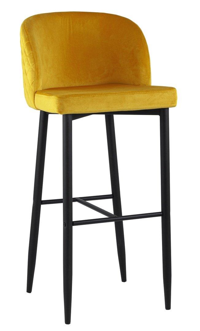 Стул барный Оскар, вельвет желтый фото