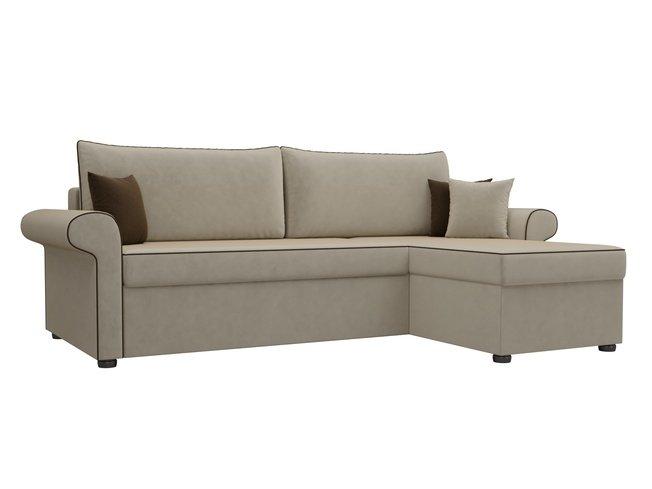Угловой диван-кровать правый Милфорд, бежевый/микровельвет фото