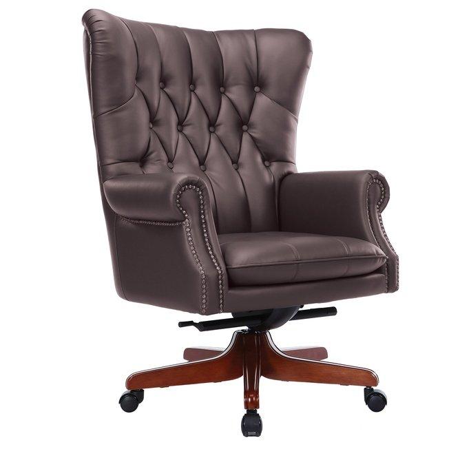 Офисное кресло 82, орех/коричневая кожа фото