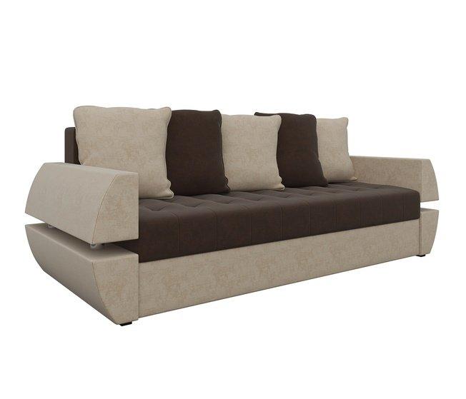 Диван-кровать Атлант Т, коричневый/бежевый/микровельвет фото