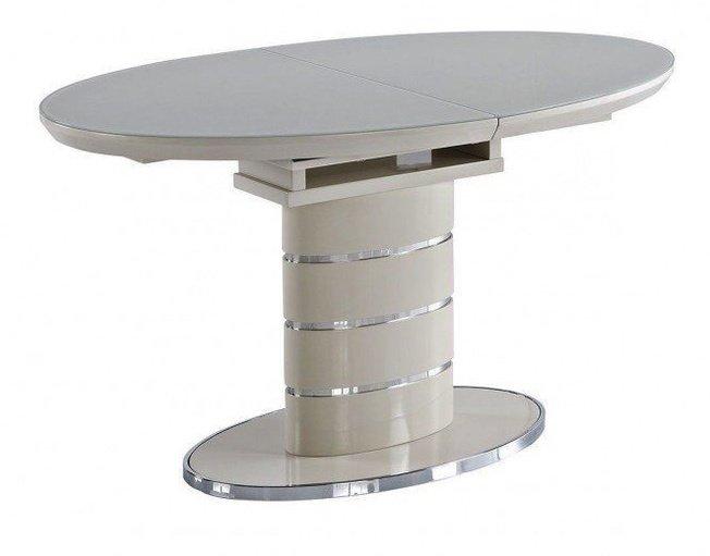Стол обеденный раскладной LUNA 140, ваниль со стеклом фото