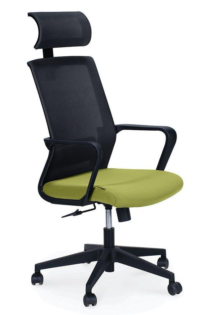 Кресло офисное Интер, база нейлон/черный пластик/серая сетка/зеленая ткань фото