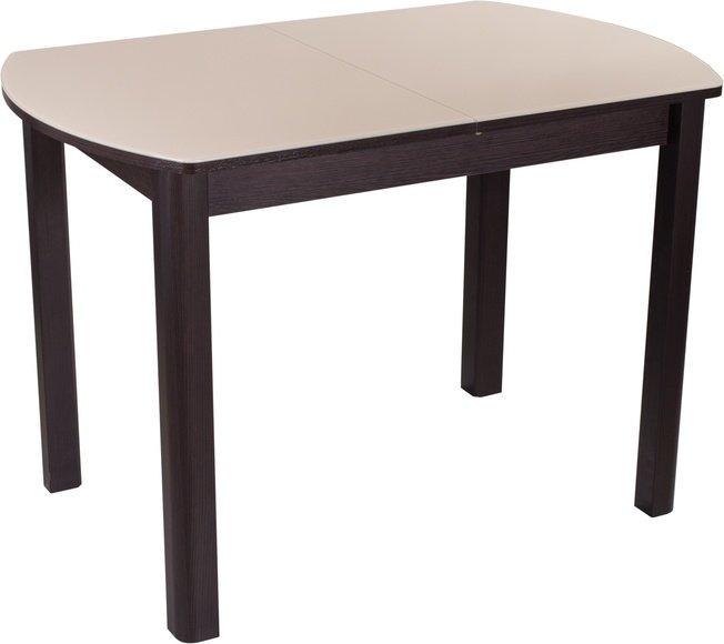 Стол обеденный раздвижной Танго мини ПО-4, венге/кремовое стекло фото