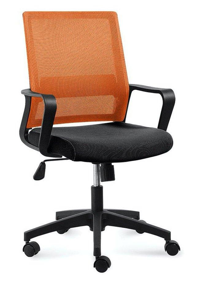 Кресло офисное Бит LB, черный пластик/оранжевая сетка/черная ткань фото