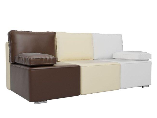 Диван-кровать Радуга, коричневый/бежевый/белый/экокожа фото