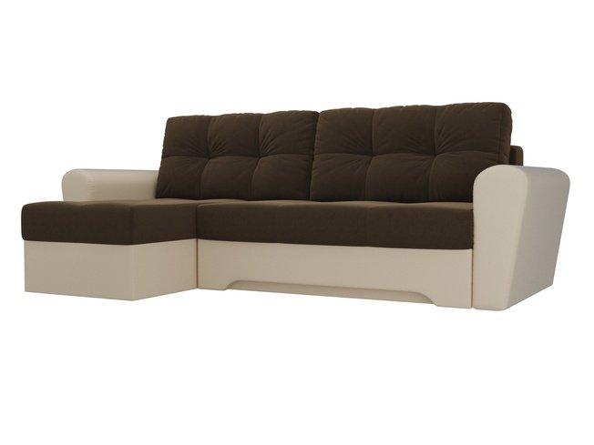 Угловой диван-кровать левый Амстердам, коричневый/бежевый/микровельвет/экокожа фото